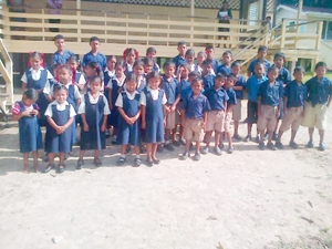 The students of Hobodeia Primary School sporting their new shoes.