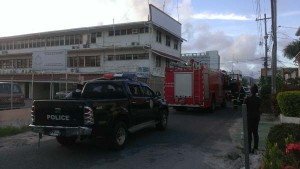 Fire Service and the police outside the Ministry of Communities yesterday afternoon