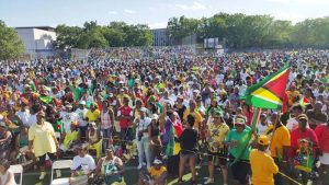 A section of the attendees at the Guyana Jubilee Unity Concert last Sunday in Brooklyn.