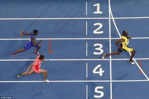 Bolt crossing the finish line as he manages to secure the ninth Olympic gold medal of his stunning career on Friday. (Reuters)
