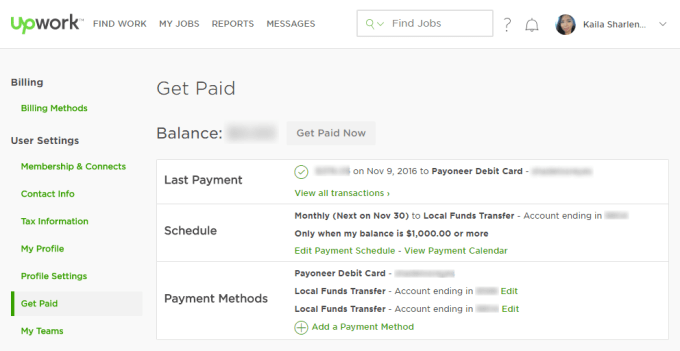 Upwork Payment Method