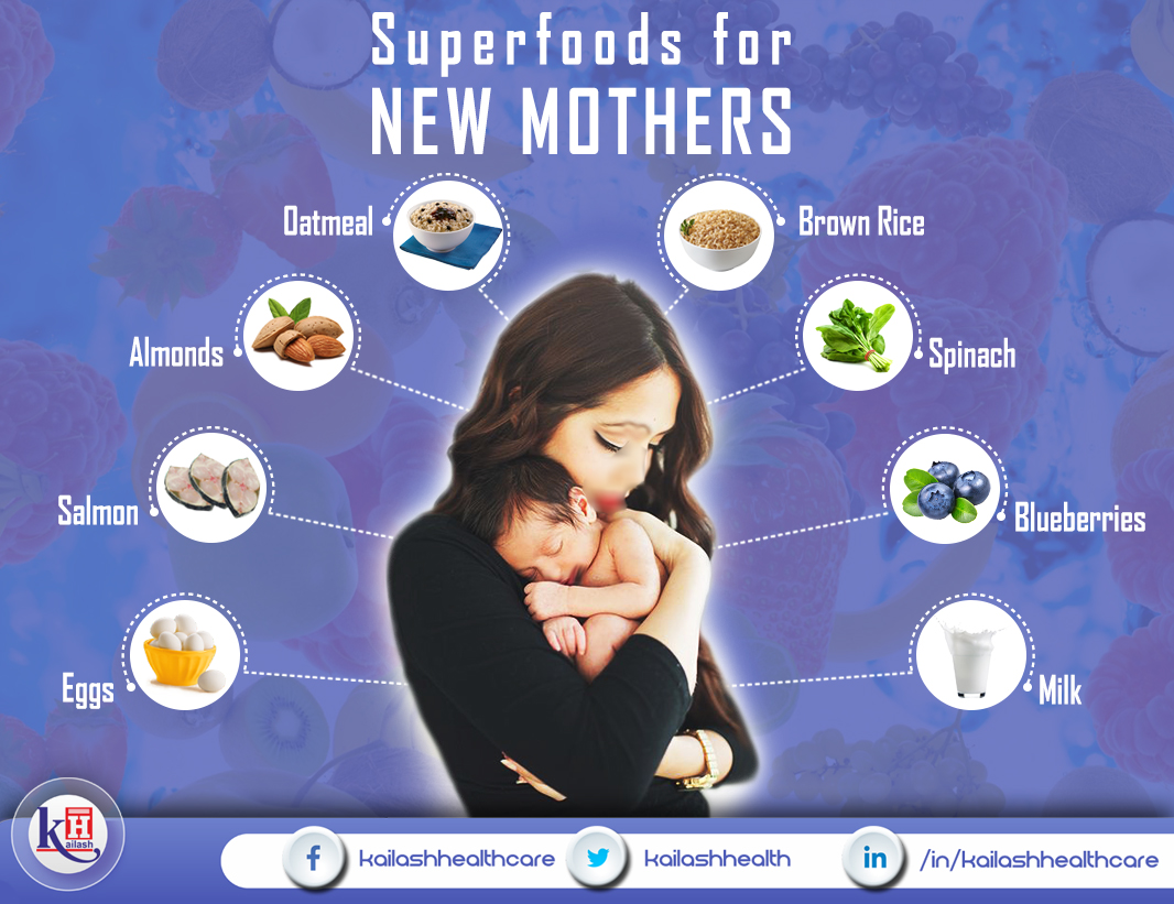 Healthy diet with nutritious foods is vital for New Mothers