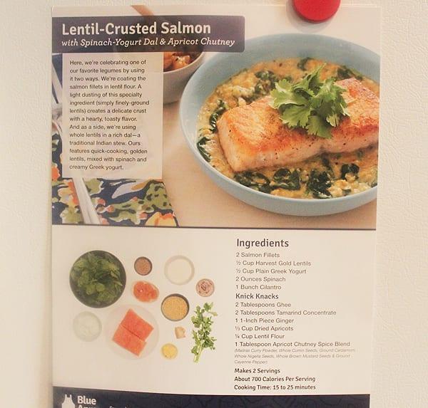 lentil crusted salmon recipe card