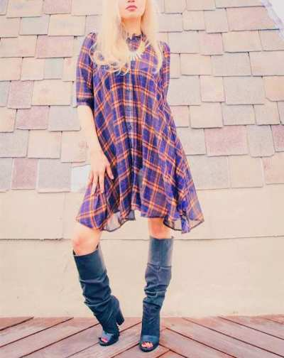 Style Moi Striped Plaid Shirt Dress