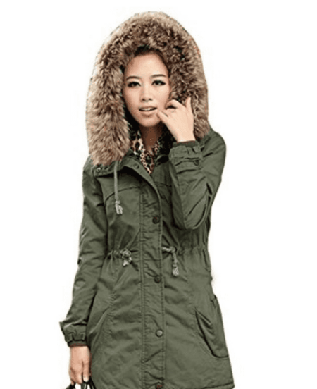 DEARCASE Women's Hooded Drawstring Military Jacket Parka Coat