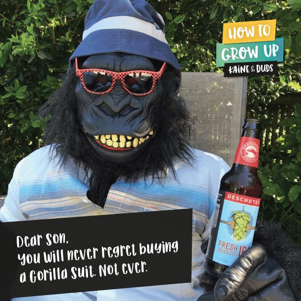 Man with beer in gorilla suit