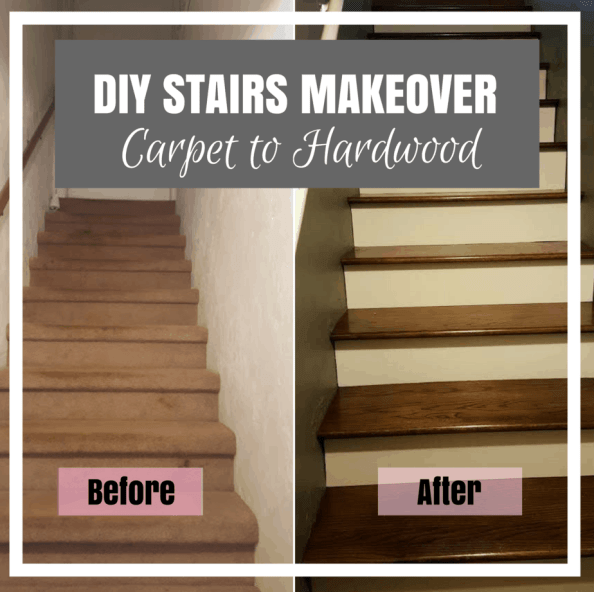 DIY stairs makeover from carpet to hardwood stairs