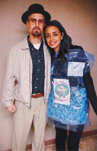 WALTER WHITE and BLUE SKY halloween Costume #halloween #halloweencostume #breakingbad #walterwhite #bluesky #couplecostume #diycostume #diyhalloween #halloweencouplescostume #diyhalloweencostume #KAinspired www.kainspired.com
