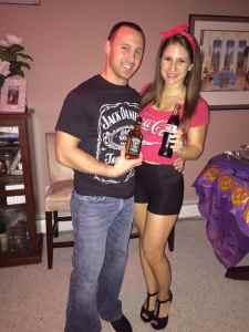 Jack and Coke Halloween Costume #halloween #halloweencostume #halloweencouplecostume #couplecostume #diycostume #diyhalloween #diyhalloweencostume #KAinspired www.kainspired.com
