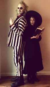 Beetle Juice and Lydia Halloween Costume #halloween #halloweencostume #halloweencouplecostume #couplecostume #diycostume #diyhalloween #diyhalloweencostume #KAinspired www.kainspired.com