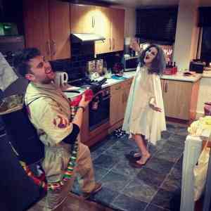 Ghost Buster and Ghost halloween Costume #halloween #halloweencostume #ghostbuster #ghost #halloweencouplecostume #couplecostume #diycostume #diyhalloween #diyhalloweencostume #KAinspired www.kainspired.com