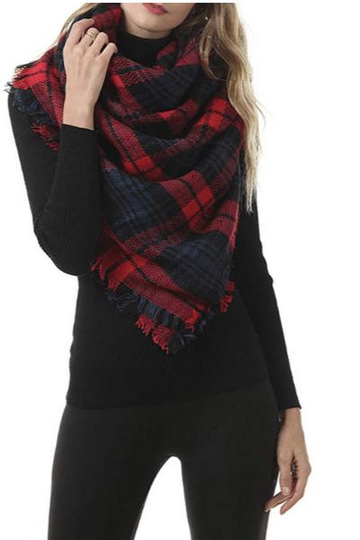 Fall Winter Scarf Classic Tassel Plaid Scarf Warm Soft Chunky Large Blanket Wrap Shawl Scarves