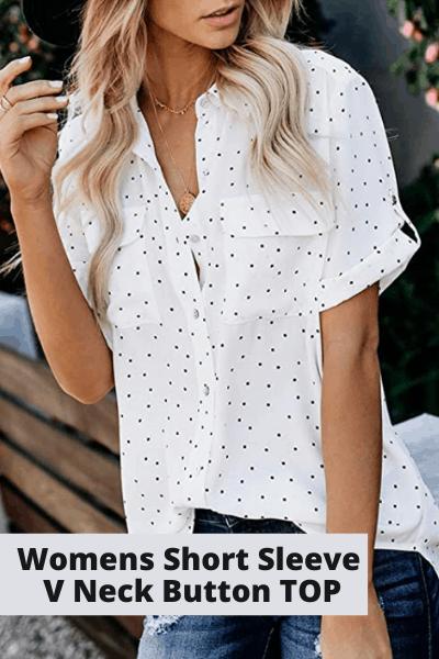 Women's short sleeve v-neck button top