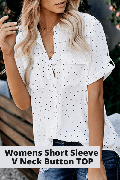 Women's short sleeve v-neck button top