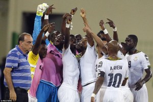 Ghana players celebrating victory/Reuters photo