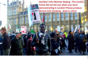 Gambia's Minister Bojang Demonstrating in London - SAFELY