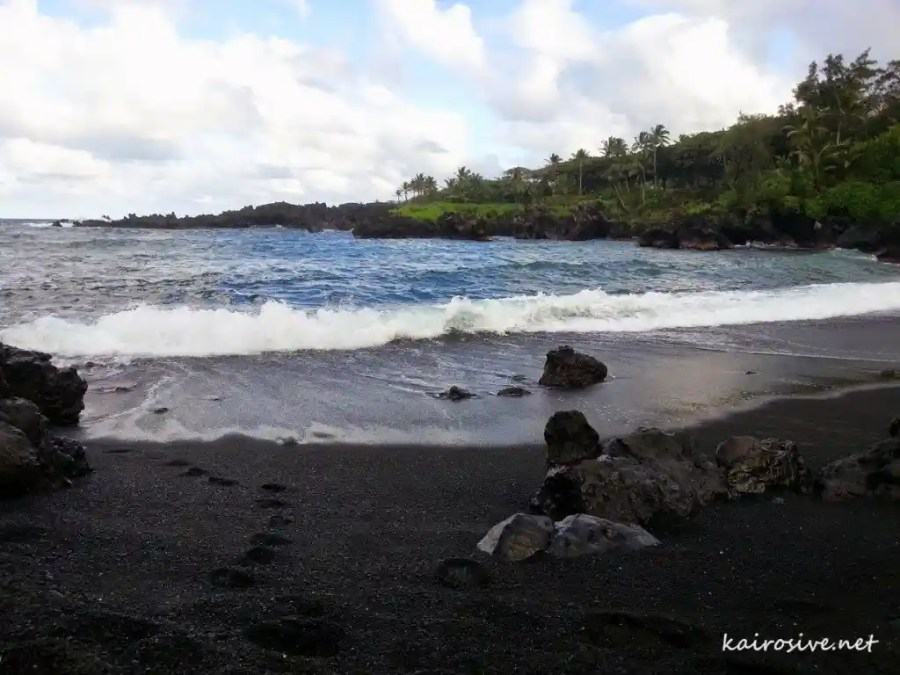 Sitting on the Beach in Wai'anapanapa State Park