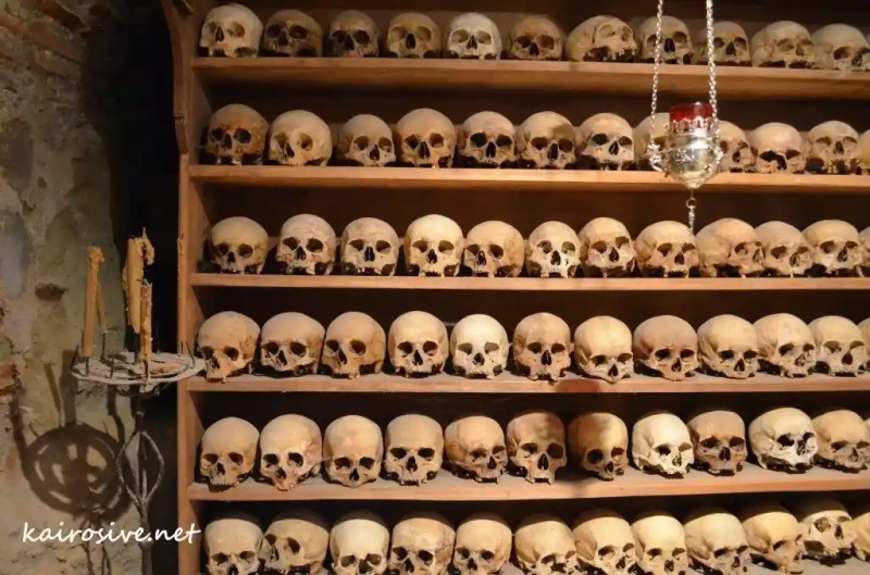 Monk Skulls at Gran Meteora Monastery
