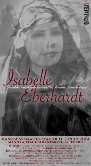 Isabelle Eberhardt. Juliste Teatteri Vertigon näytelmään, 2014.