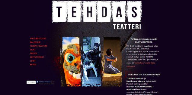 TEHDAS Teatterin kotisivujen suunnittelu ja toteutus, 2012.