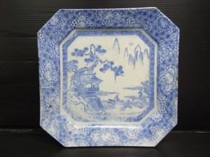 時代物 古染付 山水図 八角皿 約26.1cm 中古品