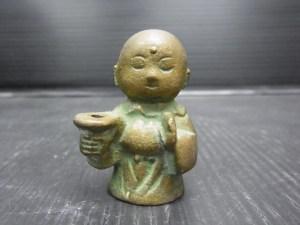 銅製 小僧 坊主 お地蔵さん 線香立て 約88g 中古品