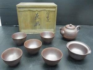 煎茶道具 茶器 備前焼 7点セット 共箱 中古品