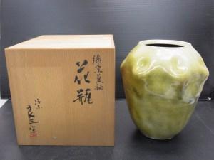 花瓶 緑窯変釉 谷口良三作 在銘 共箱 高さ 約24.5cm 中古品