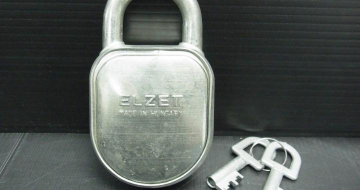 アンティーク ハンガリー製 南京錠 ELZETT 鉄製 高さ 約10.5cm 中古品