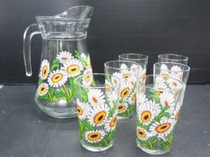アンティーク J.G DURAND & Cie 花柄 ピッチャー+グラス6個 未使用品