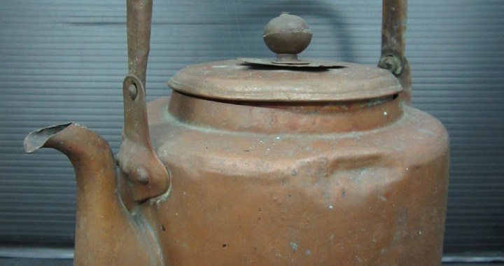 時代物 唐銅 銅製 薬缶 水注 水次 在銘 水漏れあり 中古品