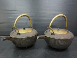 江戸期 弘化 銚子 一対 銅蓋 鉄製 補修あり 中古品