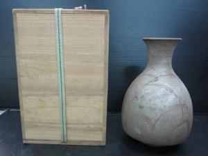 九谷焼 花瓶 松本佐一 在銘 共箱 高さ 約24cm 中古品