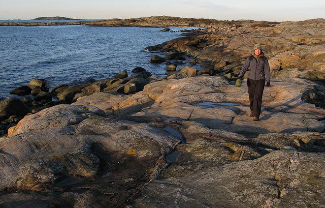 Valös släta klippor på sydsidan