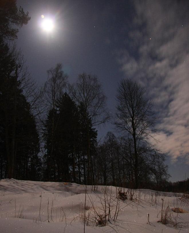 nattbild hemma med månen