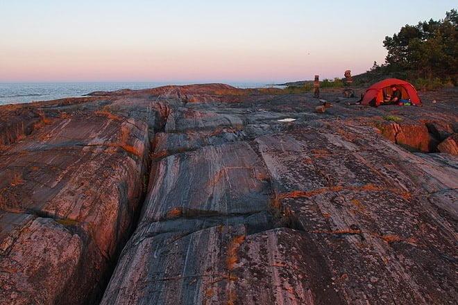 Läger på Lövskärs nordöstra sida