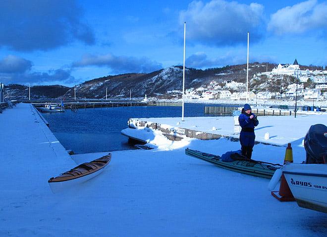 Hamnen i Mölle. Lite snö/isslask längst in men annars helt öppet