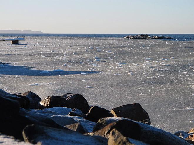 Issörja 50-100 meter ut, men annars såg det paddelbart ut