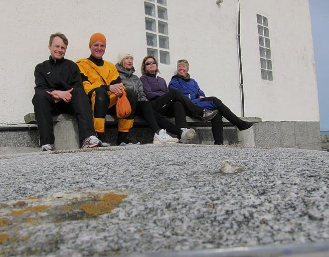 Anders, Erik, Melan, Annki och Pia vid Tistlarna fyr