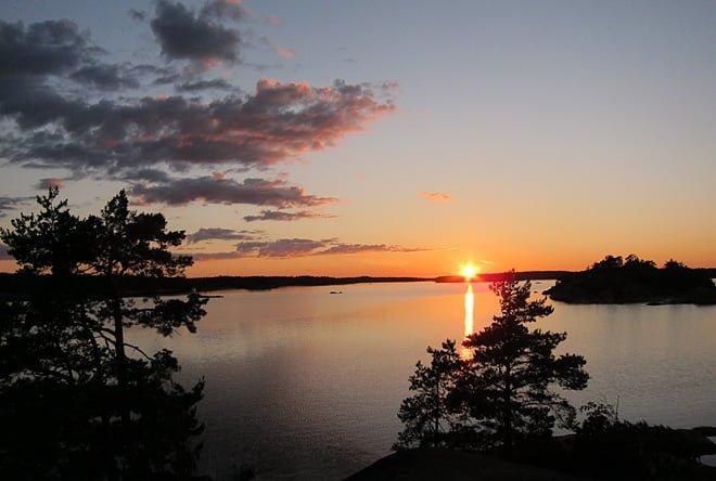 Solnedgång sedd från toppen av Berktullarna