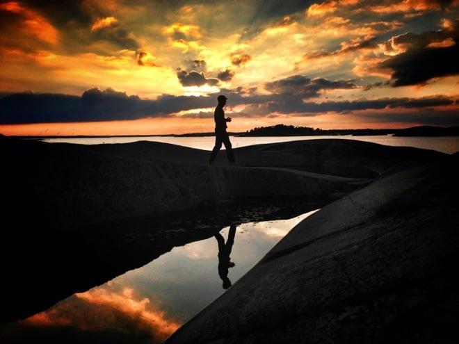 Solnedgång på Boskär i midsommar