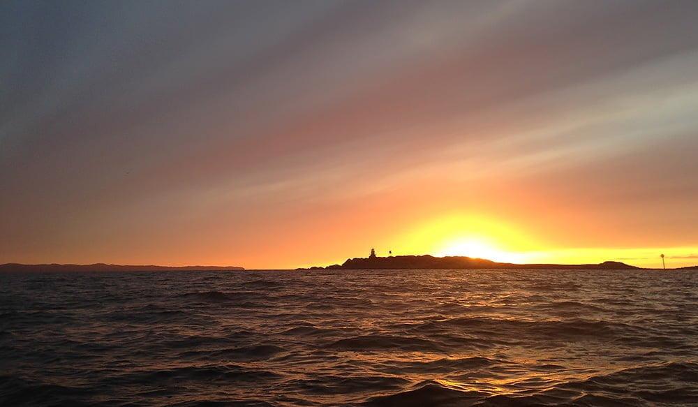 Solnedgång på vägen tillbaka