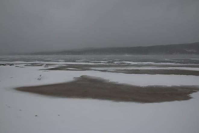 Inte mycket snö mitt på Västersjön men 5-15cm i östra änden