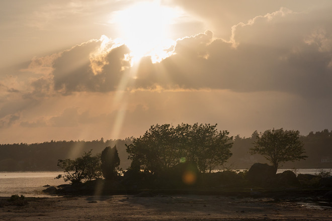 Solen på väg neråt