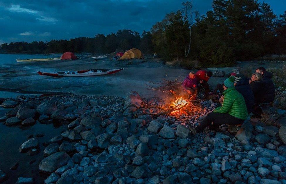 Kvällsmys vid elden på Boskär