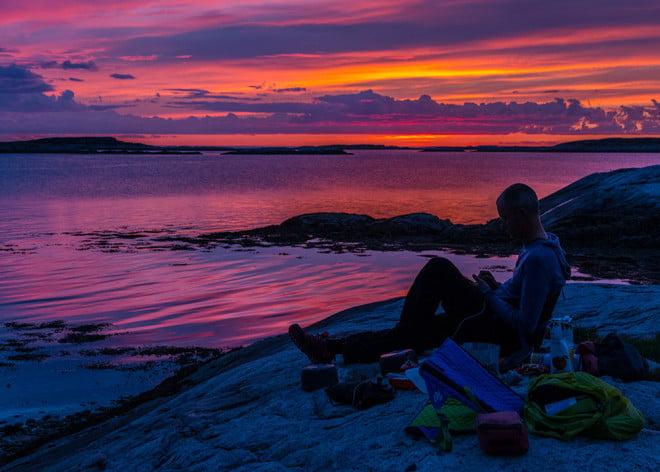 Multifärgad solnedgång på Indre Korsholmen