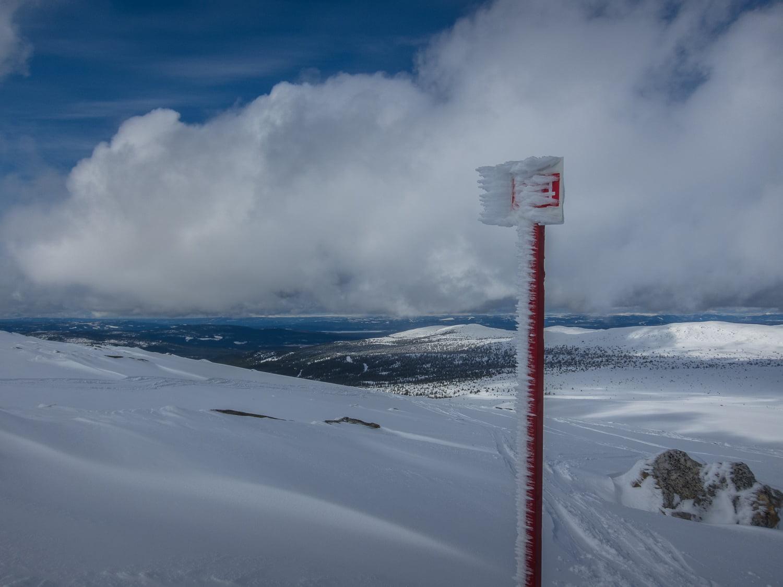 Snöat lite på tvären kring ledmarkeringarna