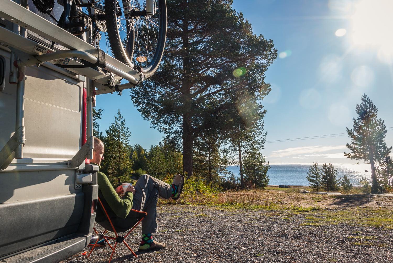 Soligt på Seskarö Camping söder om Haparanda
