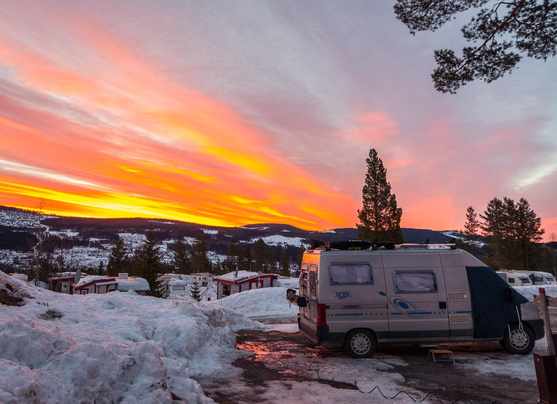 Finmorgon på Trysilfjellet Caravanplass, precis vid backen