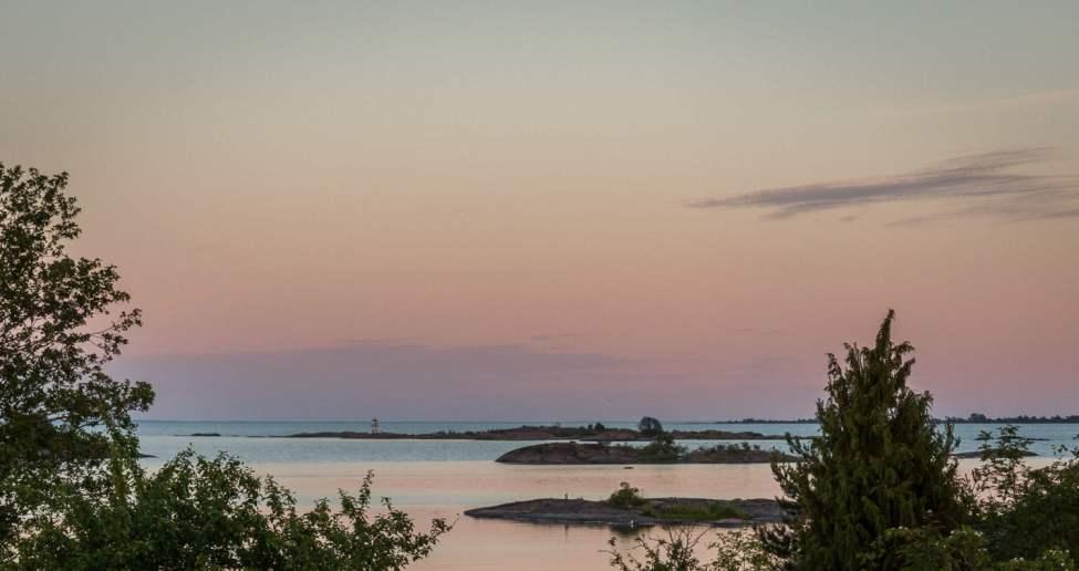 Goa kvällsvyer mot skärgård, Öland och Blå jungfrun